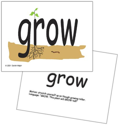 GROW sight word card w back